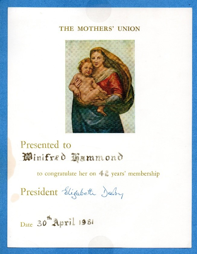 """In comparison this is the membership card received by Mrs Winifred Hammond in l943, and the certificate she received in 1982 congratulating her on 42 years' membership."""