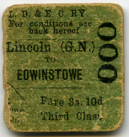LD & ECR Opening Day Ticket Return to Edwinstowe from Lincoln 15th Dec 1896