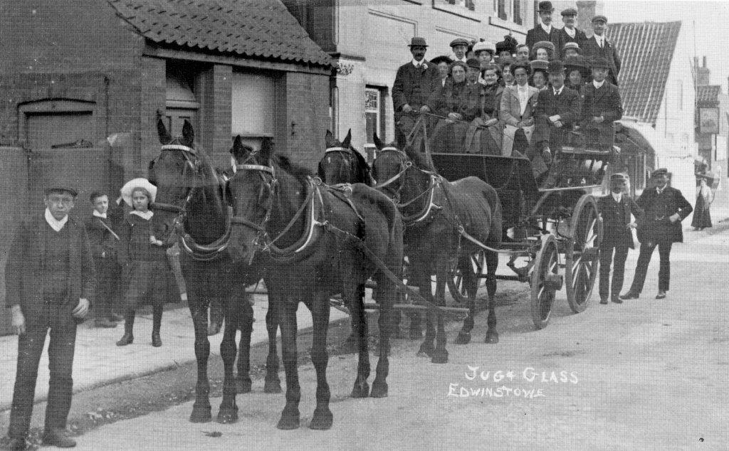 Jug & Glass' with a Carriage & Four for Dukeries Tour c1900