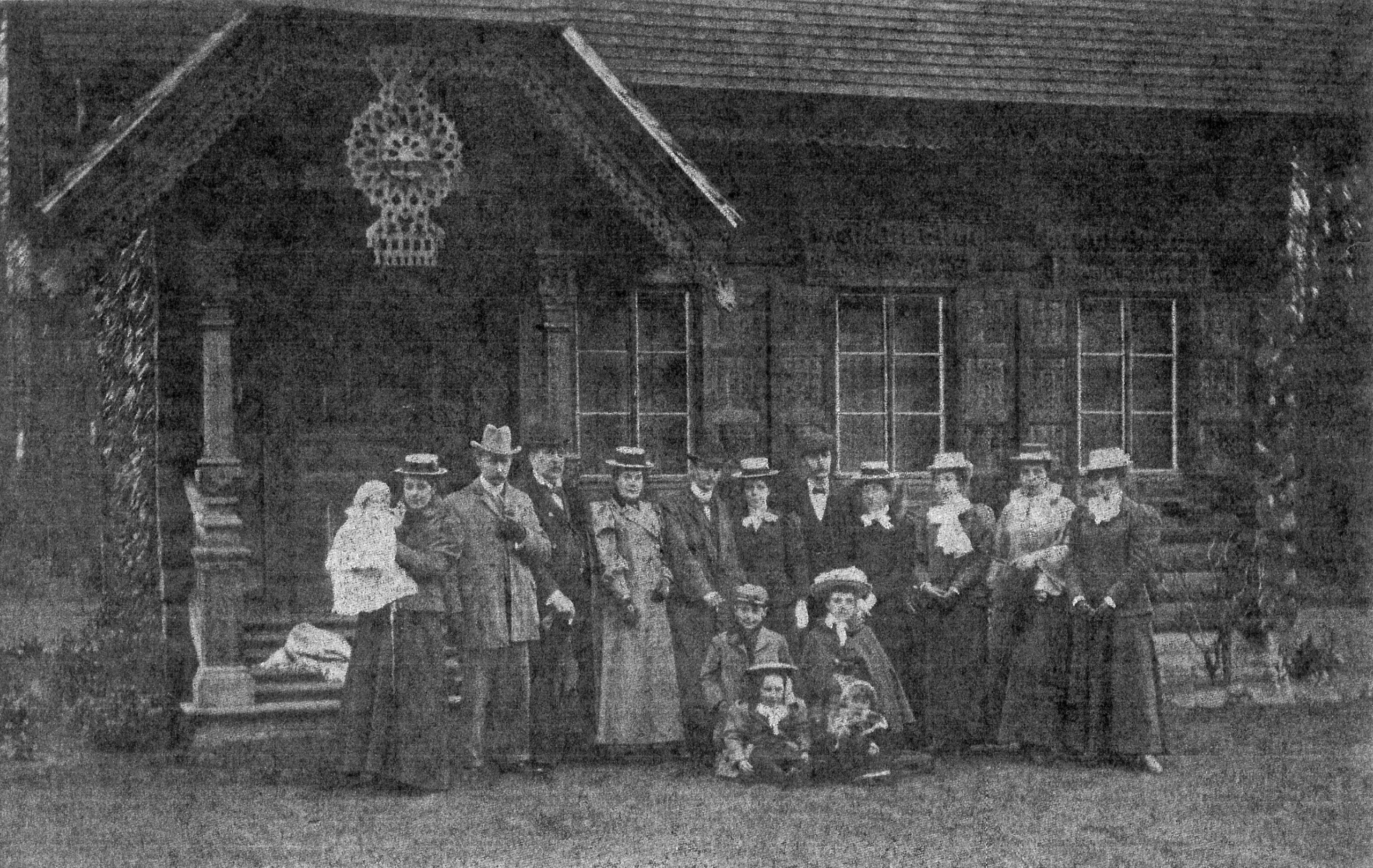 Welbeck Abbey - Russian Log Hut Family Group (Royal) n.d c1900